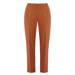 BEIGE PULL ON TROUSERS IN TOBACCO - Plus Size Collection