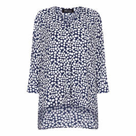 BEIGE LABEL SPOTTY TUNIC NAVY - Plus Size Collection