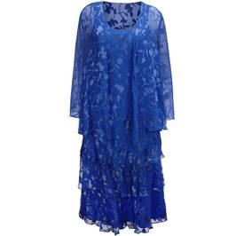 Capri royal blue silk devoré dress and jacket - Plus Size Collection