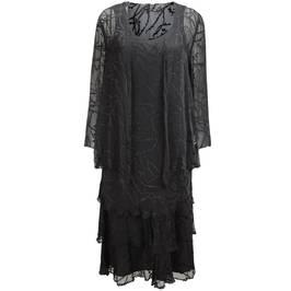 Capri black silk devoré dress and jacket - Plus Size Collection