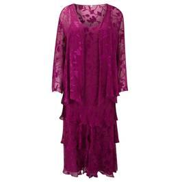 Capri fuchsia silk devoré dress and jacket - Plus Size Collection