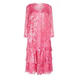 CAPRI GEORGETTE DRESS AND DUSTER COAT FUCHSIA - Plus Size Collection