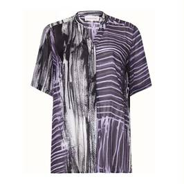 CHALOU black and lavender print sheer OVERSHIRT - Plus Size Collection