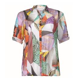 CHALOU Abstract geometric print SHIRT - Plus Size Collection