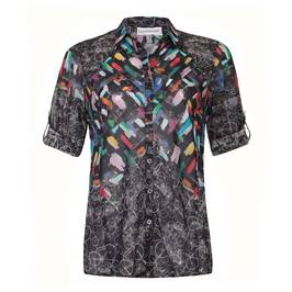 CHALOU Abstract bicycle print SHIRT - Plus Size Collection