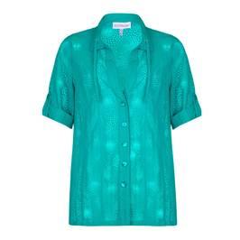 CHALOU turquoise devore SHIRT - Plus Size Collection