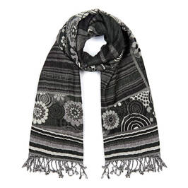 AHMADDY PURE WOOL SHAWL BLACK  - Plus Size Collection