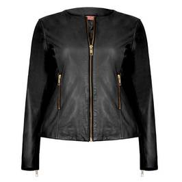 MARINA RINALDI LEATHER JACKET IN BLACK - Plus Size Collection