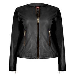 marina rinaldi leather jacket black - Plus Size Collection