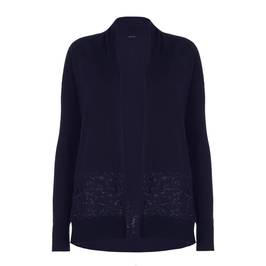 ELENA MIRO NAVY SHAWL COLLAR CARDIGAN WITH LACE DETAIL - Plus Size Collection