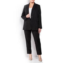 ELENA MIRO PINSTRIPE LINEN JACKET BLACK - Plus Size Collection