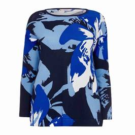 ELENA MIRO ABSTRACT INTARSIA KNITTED TUNIC BLUE - Plus Size Collection