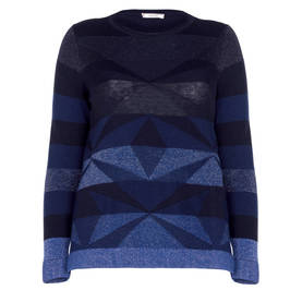 ELENA MIRO LUREX INTARSIA GEOMETRIC SWEATER INDIGO  - Plus Size Collection