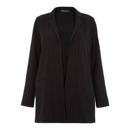 ELENA MIRO BLACK LONG REVERE COLLAR PINSTRIPE BLAZER - Plus Size Collection