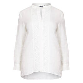 ELENA MIRO WHITE LINEN SHIRT EMBROIDERED PLACKET - Plus Size Collection