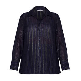 ELENA MIRO SHIRT WITH GOLD STRIPE BLACK - Plus Size Collection