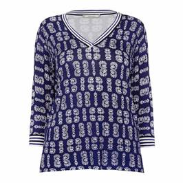 ELENA MIRO PRINTED V-NECK SWEATER BLUE - Plus Size Collection