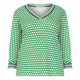 ELENA MIRO PRINTED V-NECK SWEATER GREEN - Plus Size Collection