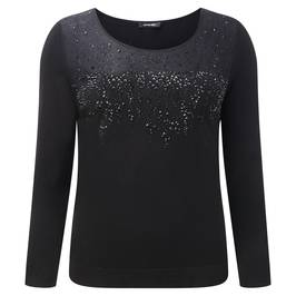 ELENA MIRO SHEER LACE DETAIL EMBELLISHED SWEATER - Plus Size Collection
