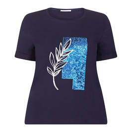 ELENA MIRO SEQUIN EMBELLISHED T-SHIRT NAVY - Plus Size Collection