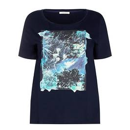 ELENA MIRO COTTON T-SHIRT WITH PRINTED FRONT NAVY - Plus Size Collection