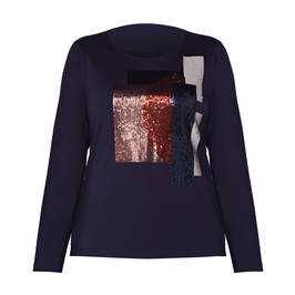 ELENA MIRO JERSEY TOP SEQUIN FRONT NAVY - Plus Size Collection