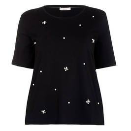 ELENA MIRO PEARL AND DIAMANTE EMBELLISHED T-SHIRT BLACK - Plus Size Collection
