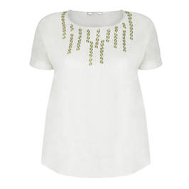 ELENA MIRO EMBELLISHED LINEN TOP - Plus Size Collection