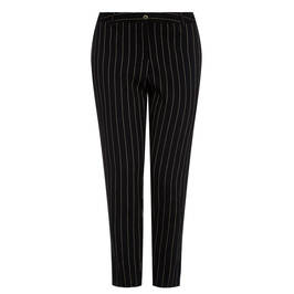 ELENA MIRO PINSTRIPE LINEN TROUSER BLACK - Plus Size Collection