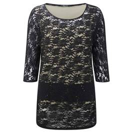 ELENA MIRO BLACK LACE TUNIC WITH SEQUINS - Plus Size Collection