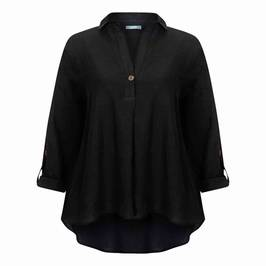 ELENA MIRO LINEN VISCOSE BLEND TUNIC BLACK - Plus Size Collection