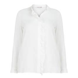 ELENA MIRO SILK BLEND RUFFLE BLOUSE WHITE - Plus Size Collection