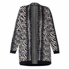 FABER ZEBRA INTARSIA KNITTED CARDIGAN BLACK  - Plus Size Collection