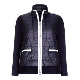 FABER NAVY ZIP-UP JACKET WITH WHITE RACING STRIPE - Plus Size Collection