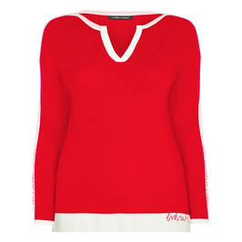 FABER SWEATER RED WITH PINK RACING STRIPE - Plus Size Collection