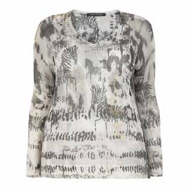 FABER MESH ZEBRA PRINT SWEATER TEXT BORDER - Plus Size Collection
