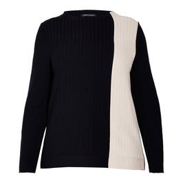 FABER VERTICAL RIB SWEATER BLACK AND VANILLA - Plus Size Collection