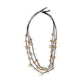FACTUR LEATHER MULTI-STRAND NECKLACE GOLD  - Plus Size Collection