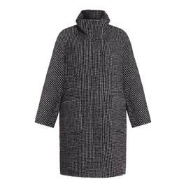 FRANDSEN FUNNEL NECK COAT BLACK   - Plus Size Collection