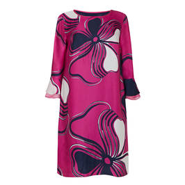 GAIA SATIN PRINT DRESS FUCHSIA - Plus Size Collection