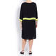 GAIA CAPE DRESS WITH BROOCH BLACK AND LIME
