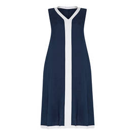GAIA V-NECK LINEN DRESS NAVY AND WHITE - Plus Size Collection