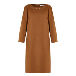 GAIA DRESS EYELET DETAIL TOBACCO - Plus Size Collection