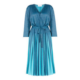 GAIA LUREX PLEATED WRAP DRESS TEAL - Plus Size Collection