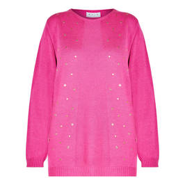 GAIA KNITTED TUNIC WITH EYELETS FUCHSIA - Plus Size Collection