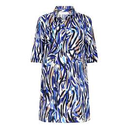 GAIA LONG LINE PAINT-STROKE PRINT SHIRT  - Plus Size Collection