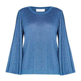 GAIA LUREX SWEATER PLEATED SLEEVE TEAL  - Plus Size Collection