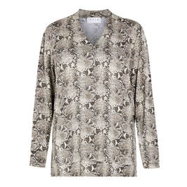 GAIA SNAKE PRINT TOP V-NECK - Plus Size Collection