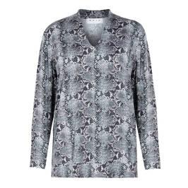 GAIA SNAKE PRINT TOP V-NECK BLACK - Plus Size Collection
