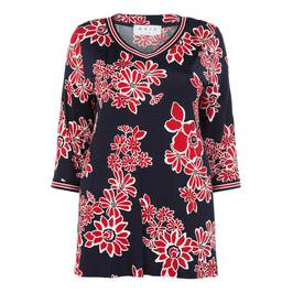 GAIA NAVY FLORAL PRINT TUNIC - Plus Size Collection